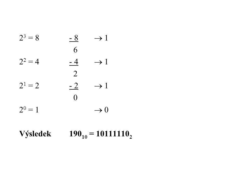 23 = 8 - 8  1 6 22 = 4 - 4  1 2 21 = 2 - 2  1 20 = 1  0 Výsledek 19010 = 101111102
