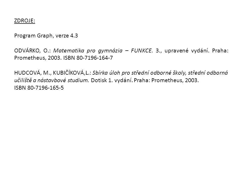 ZDROJE: Program Graph, verze 4.3. ODVÁRKO, O.: Matematika pro gymnázia – FUNKCE. 3., upravené vydání. Praha: Prometheus, 2003. ISBN 80-7196-164-7.
