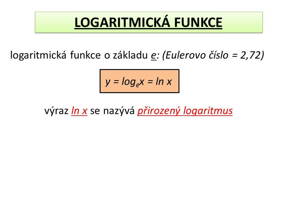 LOGARITMICKÁ FUNKCE logaritmická funkce o základu e: (Eulerovo číslo = 2,72) y = logex = ln x.
