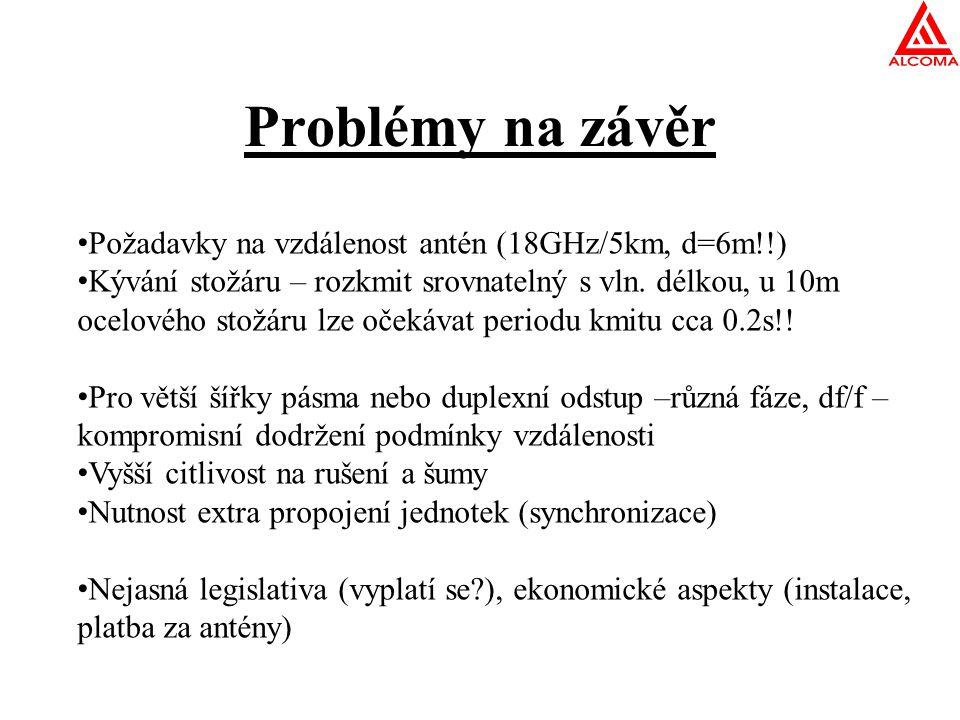 Problémy na závěr Požadavky na vzdálenost antén (18GHz/5km, d=6m!!)