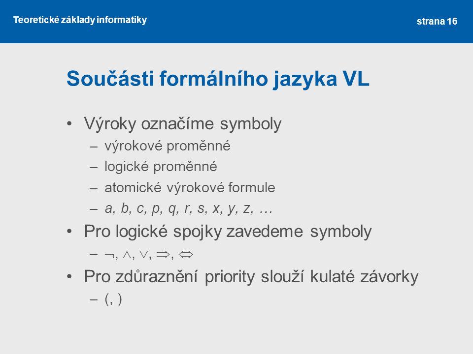 Součásti formálního jazyka VL