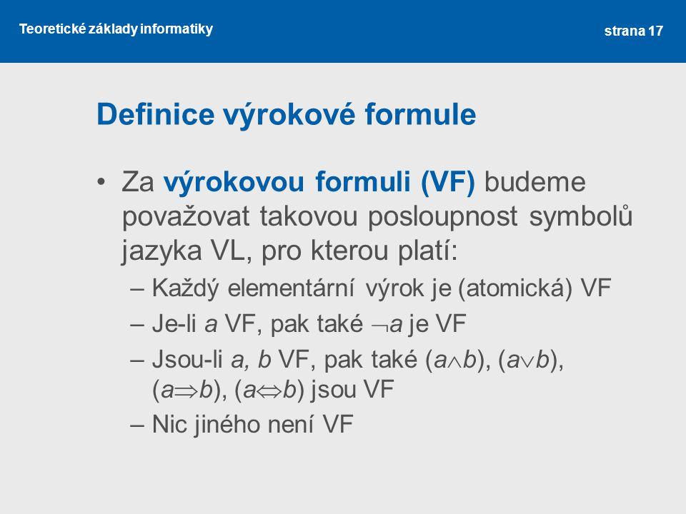 Definice výrokové formule