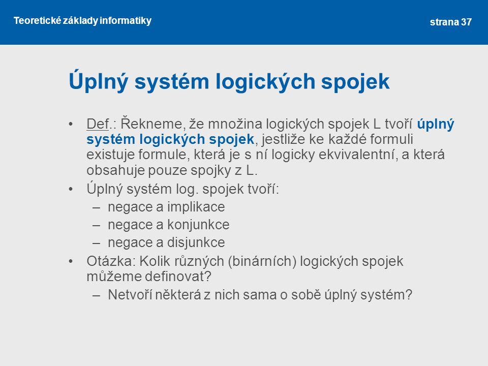 Úplný systém logických spojek