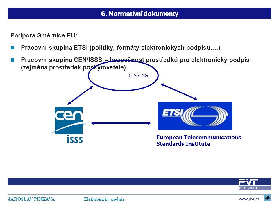 6. Normativní dokumenty Podpora Směrnice EU: