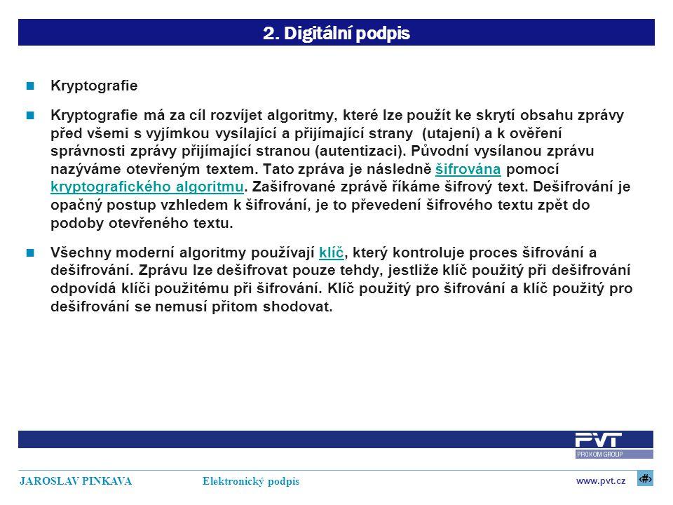 2. Digitální podpis Kryptografie