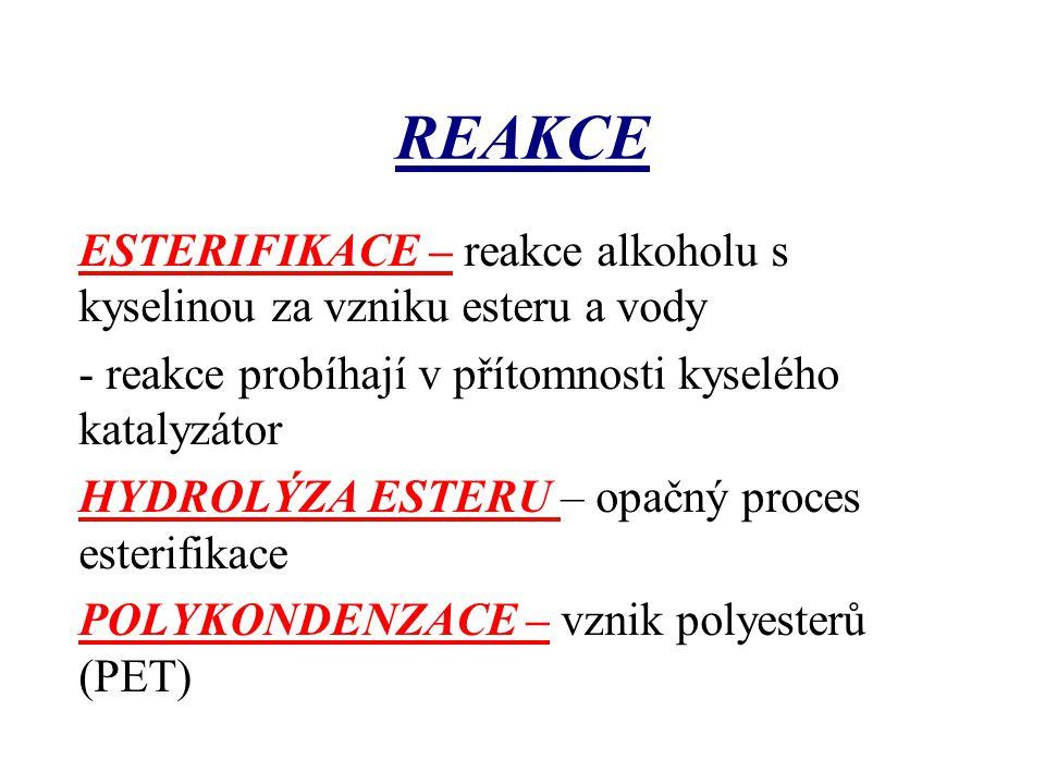REAKCE ESTERIFIKACE – reakce alkoholu s kyselinou za vzniku esteru a vody. - reakce probíhají v přítomnosti kyselého katalyzátor.
