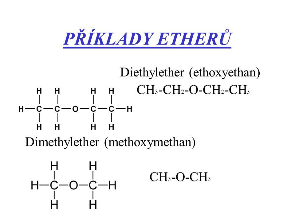 PŘÍKLADY ETHERŮ Diethylether (ethoxyethan) CH3-CH2-O-CH2-CH3