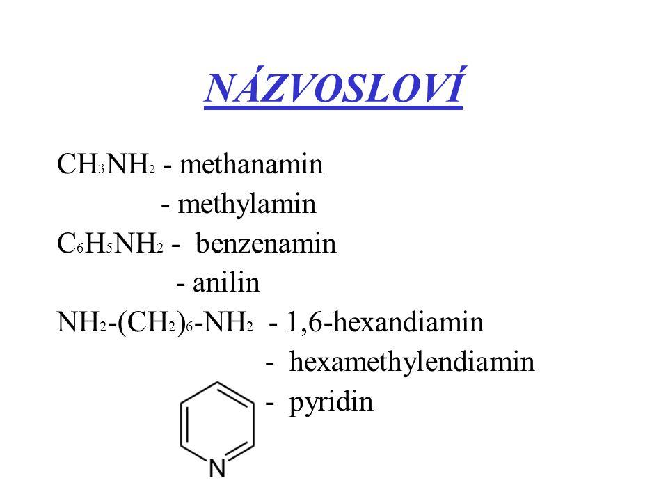 NÁZVOSLOVÍ CH3NH2 - methanamin - methylamin C6H5NH2 - benzenamin