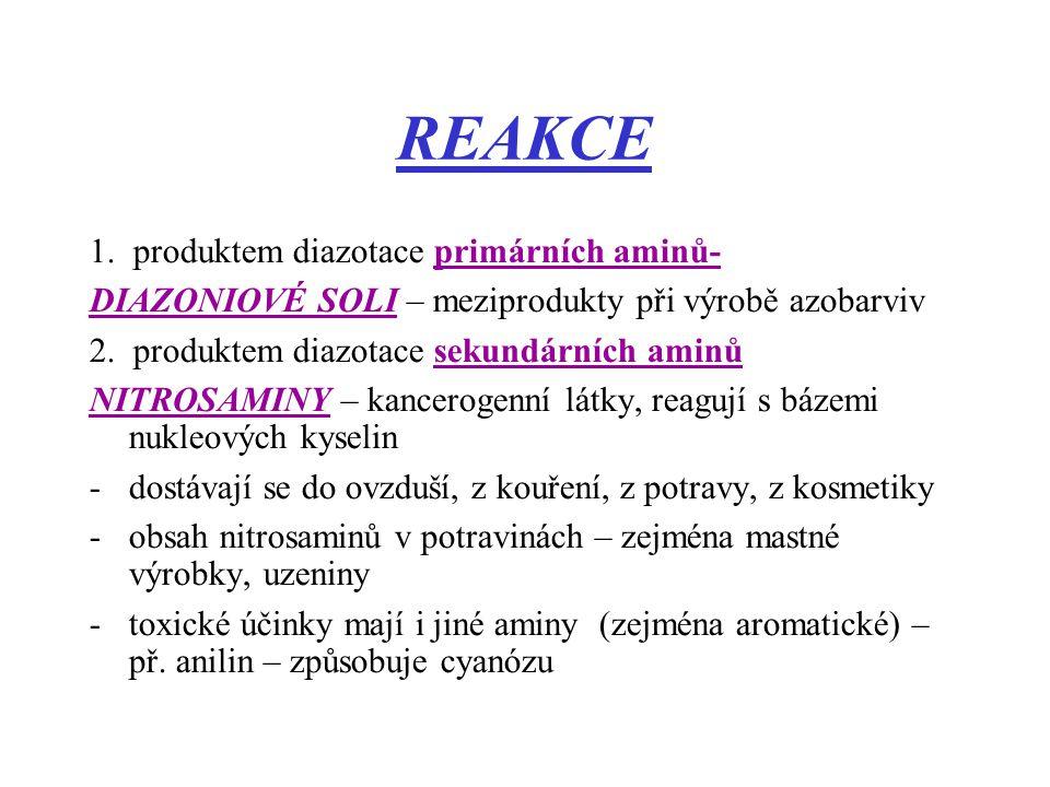 REAKCE 1. produktem diazotace primárních aminů-