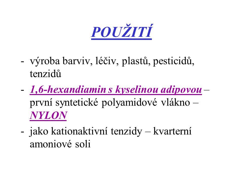 POUŽITÍ výroba barviv, léčiv, plastů, pesticidů, tenzidů