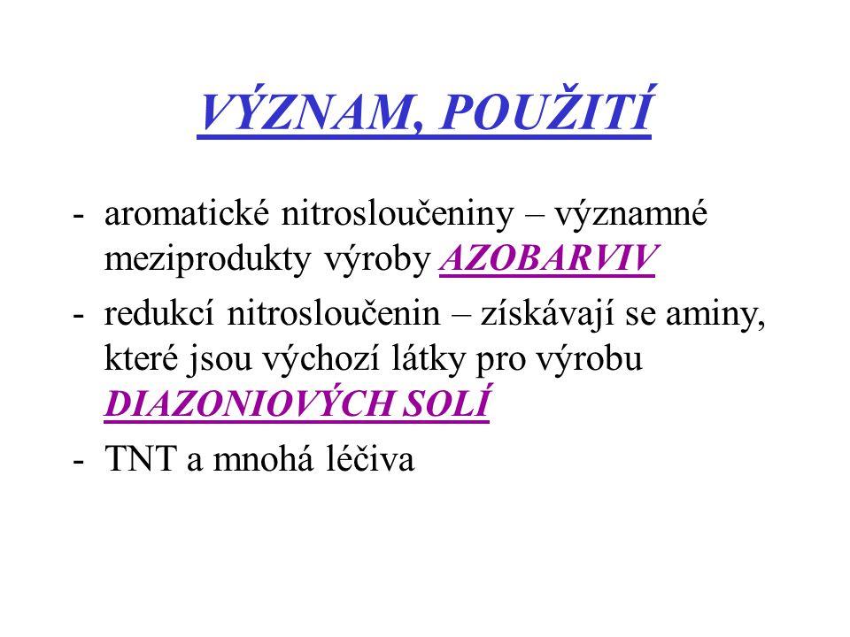 VÝZNAM, POUŽITÍ aromatické nitrosloučeniny – významné meziprodukty výroby AZOBARVIV.
