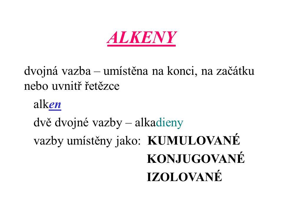 ALKENY dvojná vazba – umístěna na konci, na začátku nebo uvnitř řetězce. alken. dvě dvojné vazby – alkadieny.
