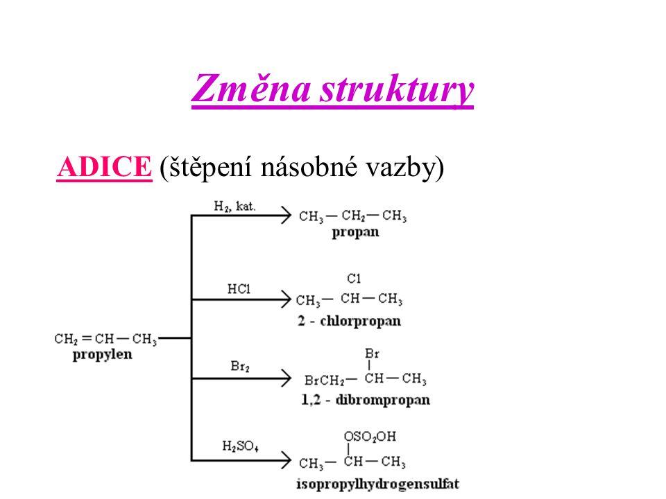 Změna struktury ADICE (štěpení násobné vazby)