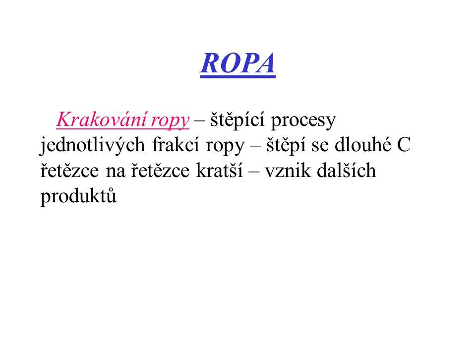 ROPA Krakování ropy – štěpící procesy jednotlivých frakcí ropy – štěpí se dlouhé C řetězce na řetězce kratší – vznik dalších produktů.