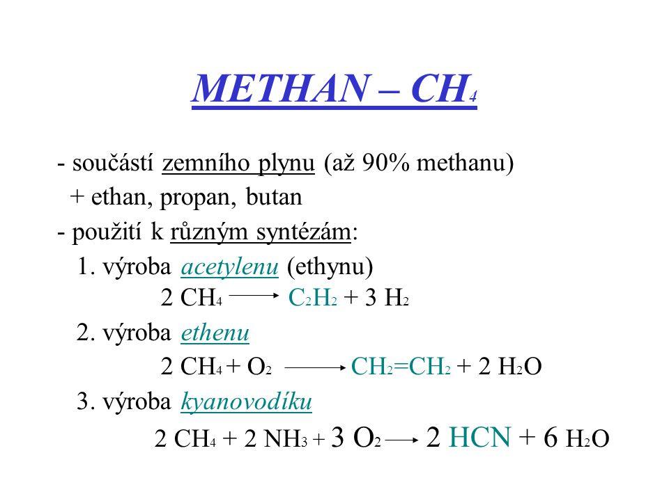 METHAN – CH4 - součástí zemního plynu (až 90% methanu)
