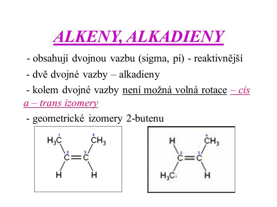 ALKENY, ALKADIENY - obsahují dvojnou vazbu (sigma, pí) - reaktivnější