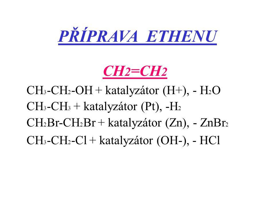 PŘÍPRAVA ETHENU CH2=CH2 CH3-CH2-OH + katalyzátor (H+), - H2O