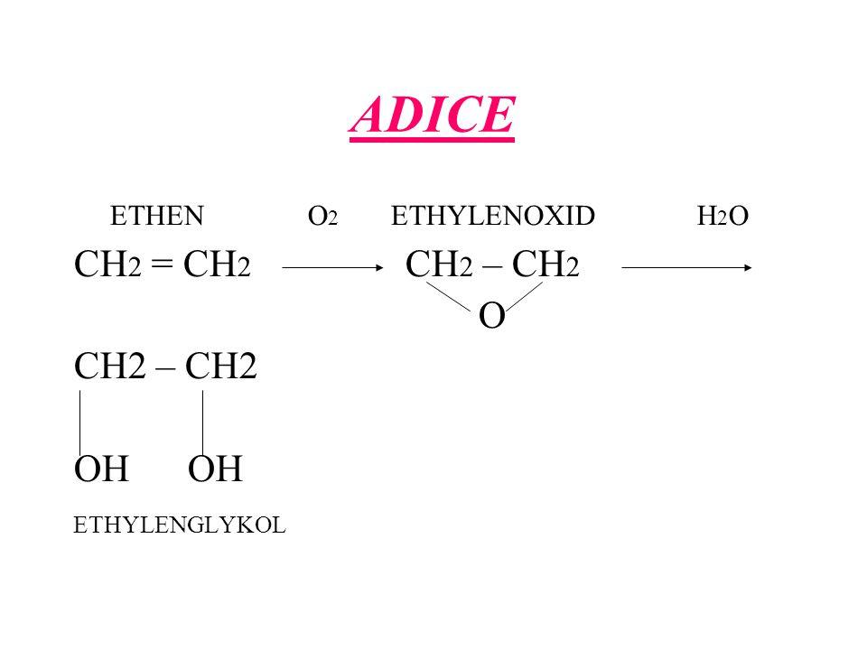 ADICE CH2 = CH2 CH2 – CH2 O CH2 – CH2 OH OH ETHEN O2 ETHYLENOXID H2O