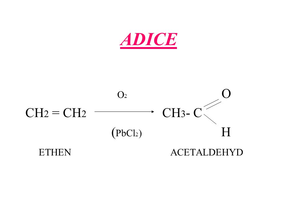 ADICE O2 O. CH2 = CH2 CH3- C. (PbCl2) H.