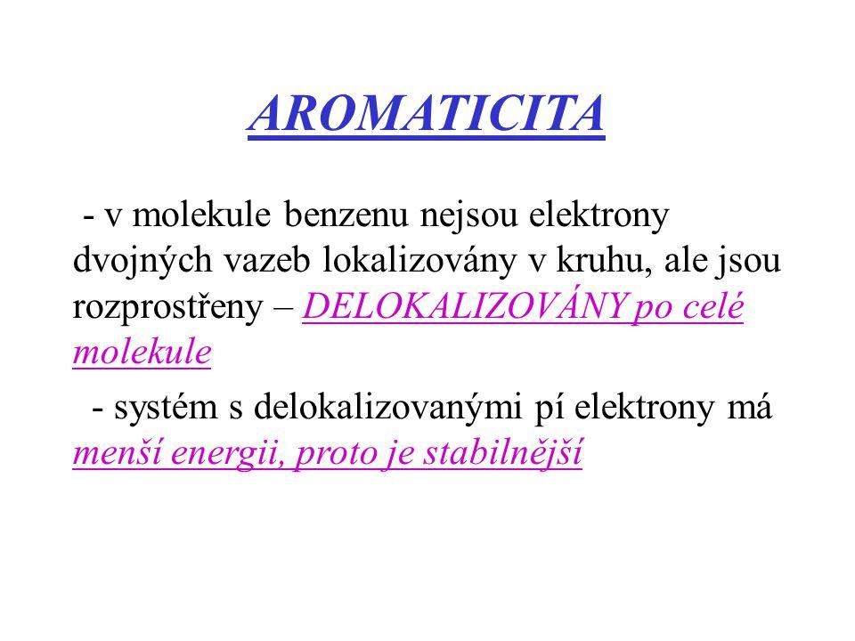 AROMATICITA - v molekule benzenu nejsou elektrony dvojných vazeb lokalizovány v kruhu, ale jsou rozprostřeny – DELOKALIZOVÁNY po celé molekule.