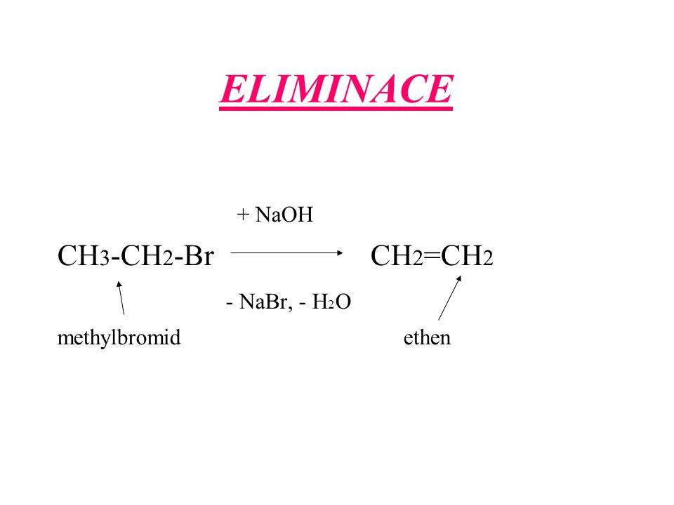 ELIMINACE + NaOH. CH3-CH2-Br CH2=CH2.