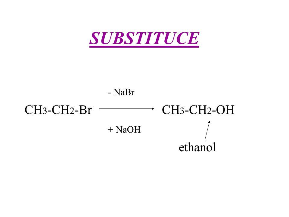 SUBSTITUCE - NaBr CH3-CH2-Br CH3-CH2-OH + NaOH ethanol