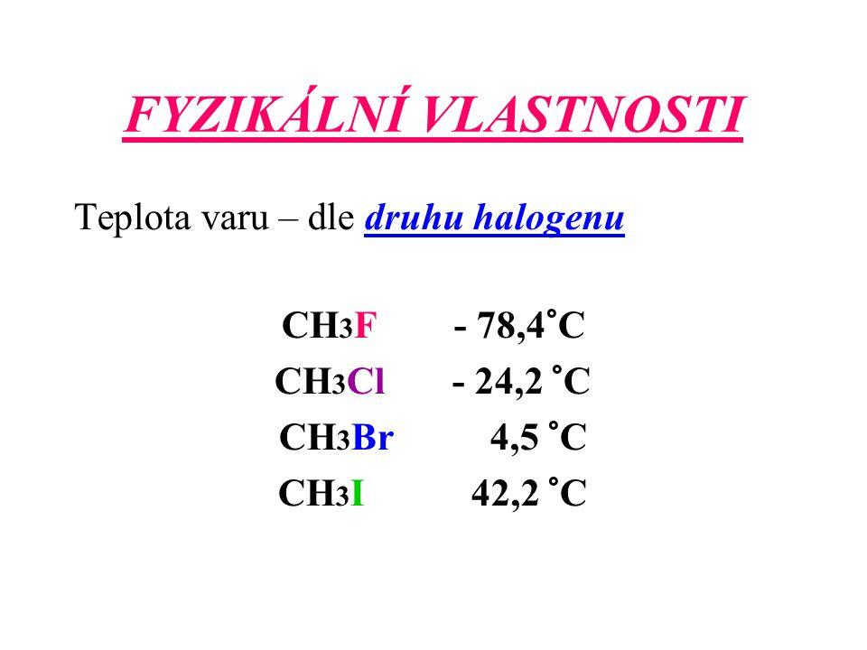 FYZIKÁLNÍ VLASTNOSTI Teplota varu – dle druhu halogenu CH3F - 78,4°C