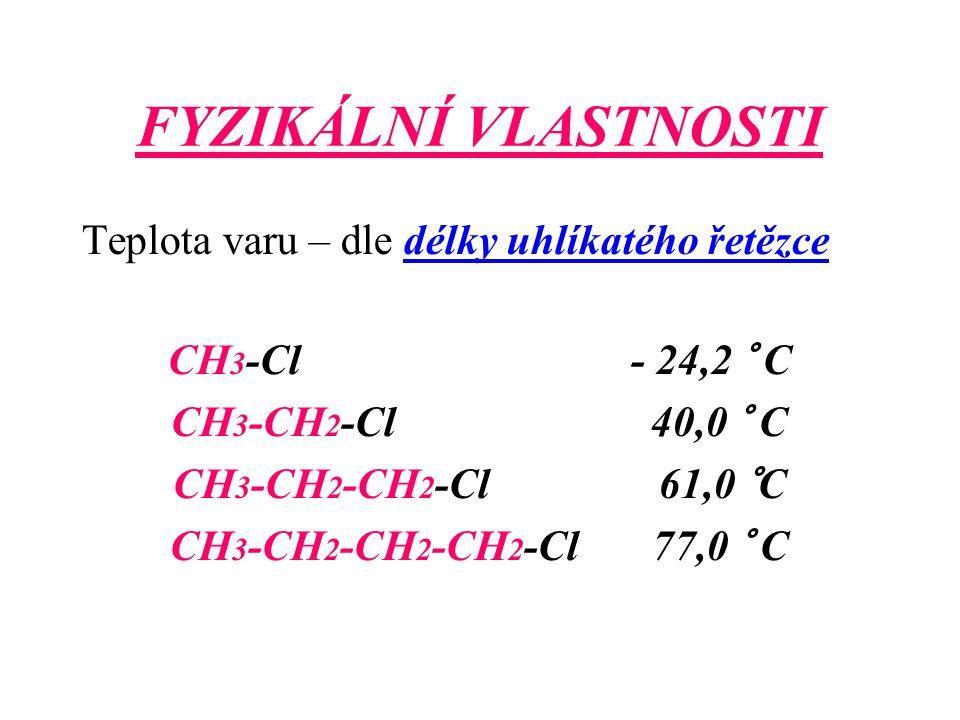 FYZIKÁLNÍ VLASTNOSTI Teplota varu – dle délky uhlíkatého řetězce