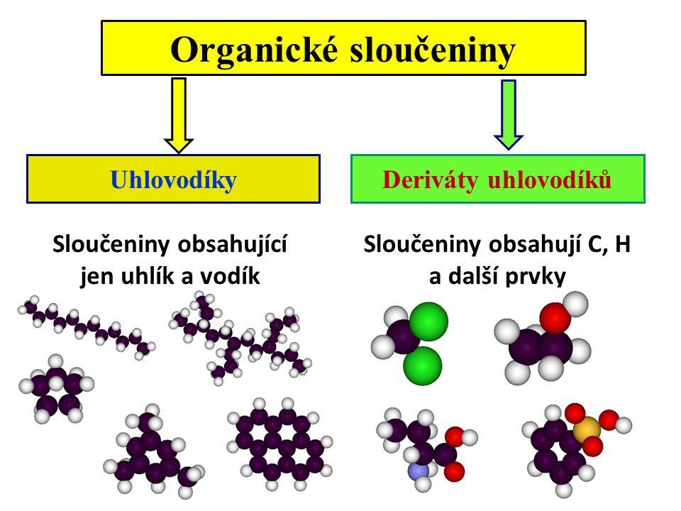 Organické sloučeniny Uhlovodíky Deriváty uhlovodíků