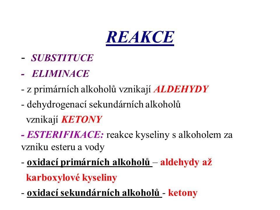 REAKCE - SUBSTITUCE - ELIMINACE