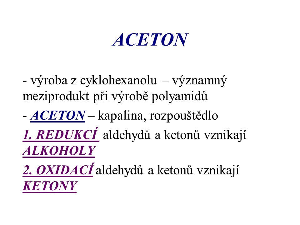 ACETON - výroba z cyklohexanolu – významný meziprodukt při výrobě polyamidů. - ACETON – kapalina, rozpouštědlo.
