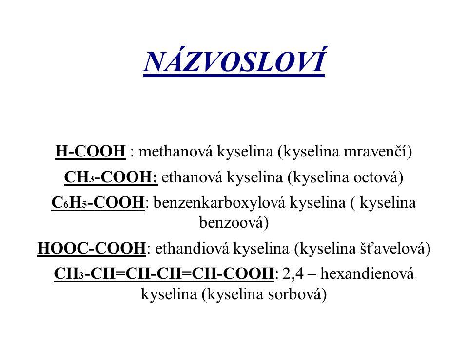NÁZVOSLOVÍ H-COOH : methanová kyselina (kyselina mravenčí)