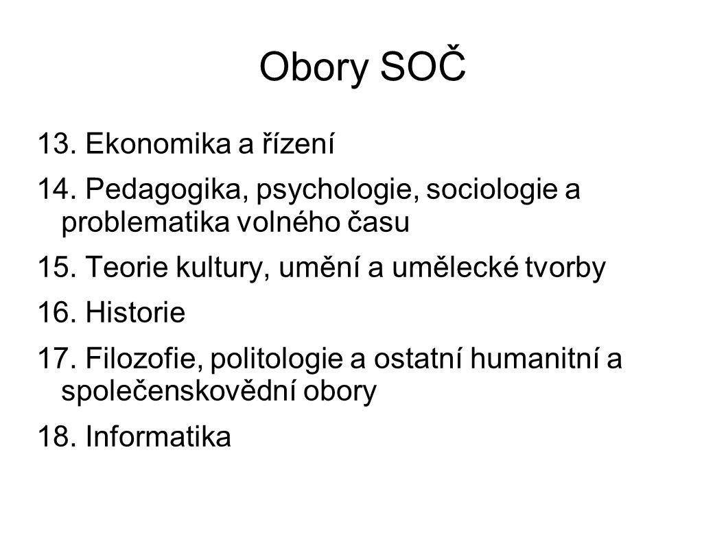 Obory SOČ 13. Ekonomika a řízení