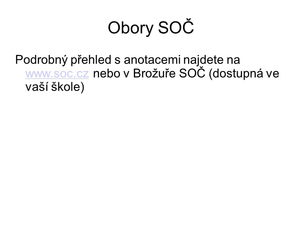 Obory SOČ Podrobný přehled s anotacemi najdete na www.soc.cz nebo v Brožuře SOČ (dostupná ve vaší škole)