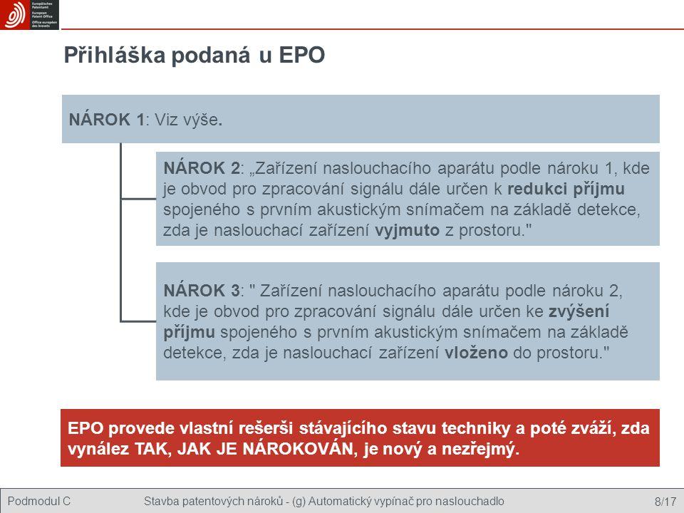Přihláška podaná u EPO NÁROK 1: Viz výše.