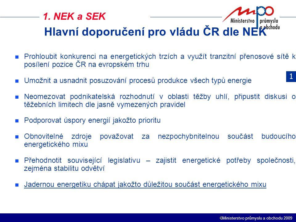 Hlavní doporučení pro vládu ČR dle NEK