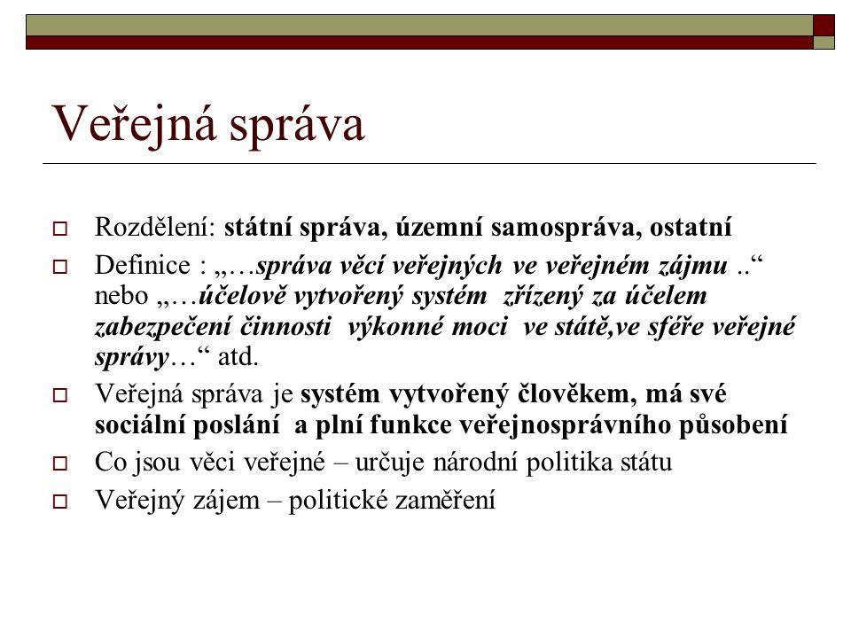 Veřejná správa Rozdělení: státní správa, územní samospráva, ostatní