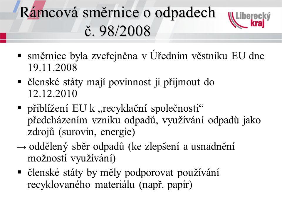 Rámcová směrnice o odpadech č. 98/2008