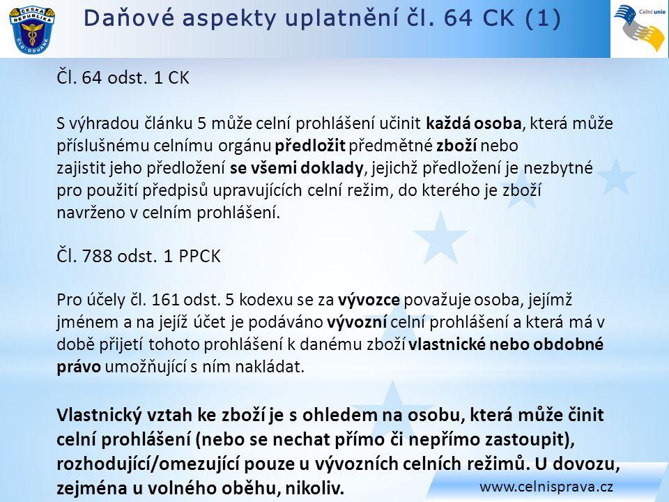 Daňové aspekty uplatnění čl. 64 CK (1)