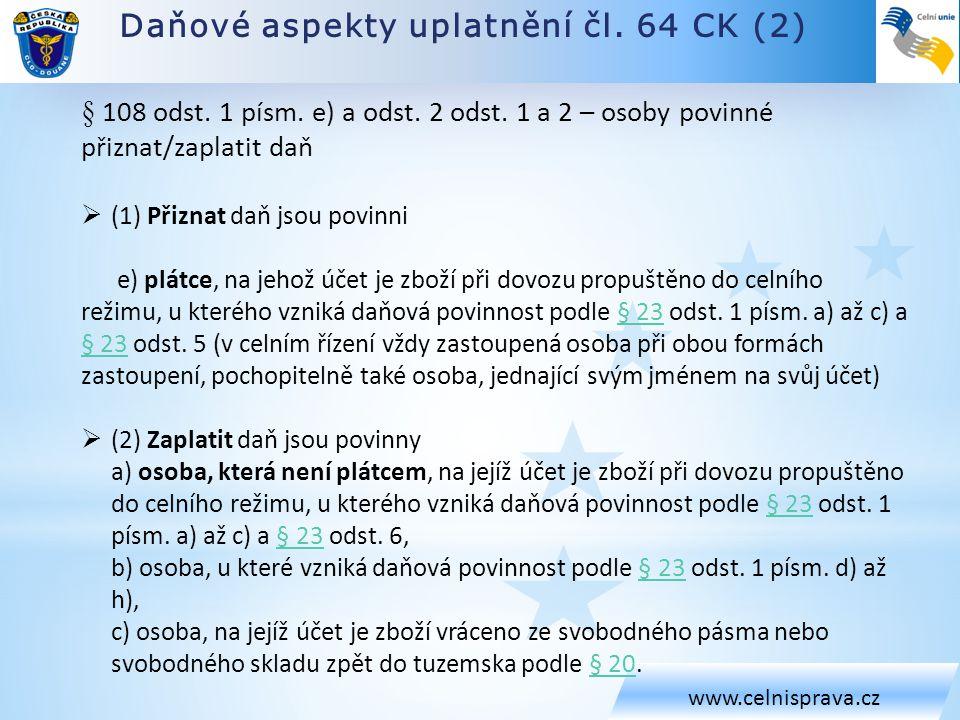 Daňové aspekty uplatnění čl. 64 CK (2)