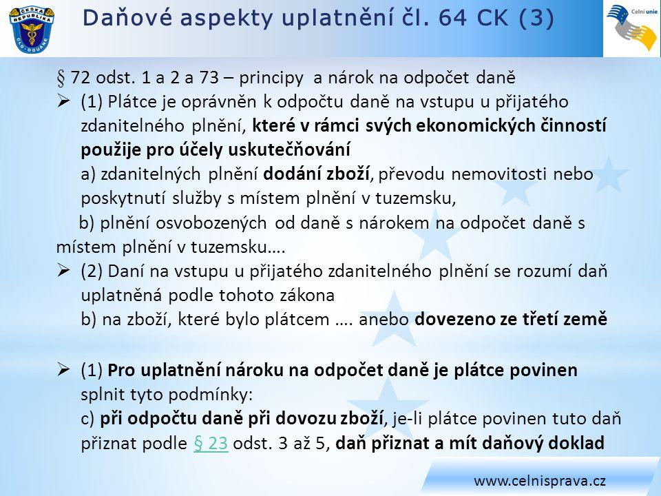 Daňové aspekty uplatnění čl. 64 CK (3)