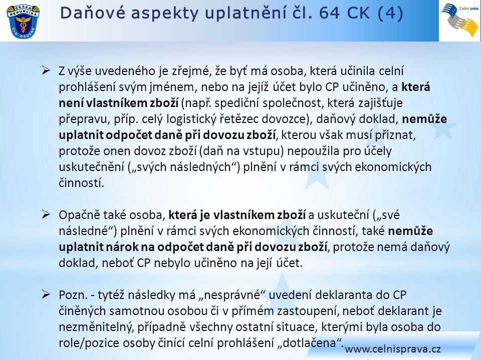 Daňové aspekty uplatnění čl. 64 CK (4)