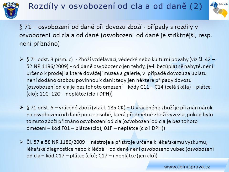 Rozdíly v osvobození od cla a od daně (2)