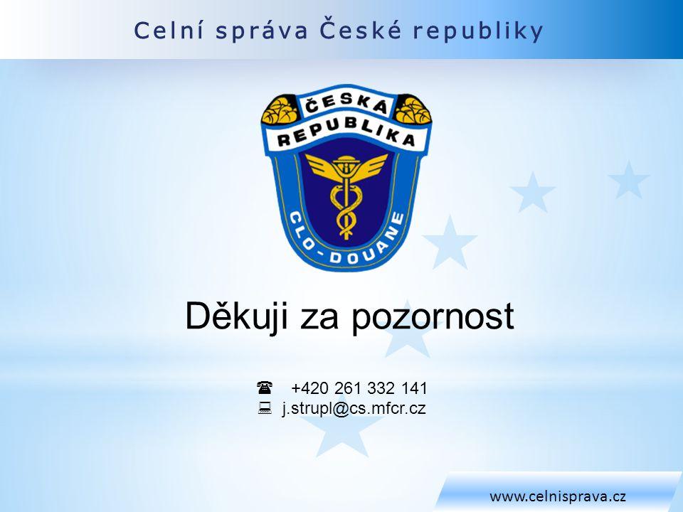 Děkuji za pozornost Celní správa České republiky