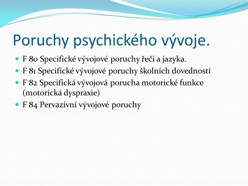 Poruchy psychického vývoje.