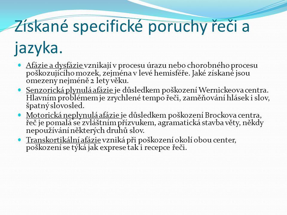 Získané specifické poruchy řeči a jazyka.