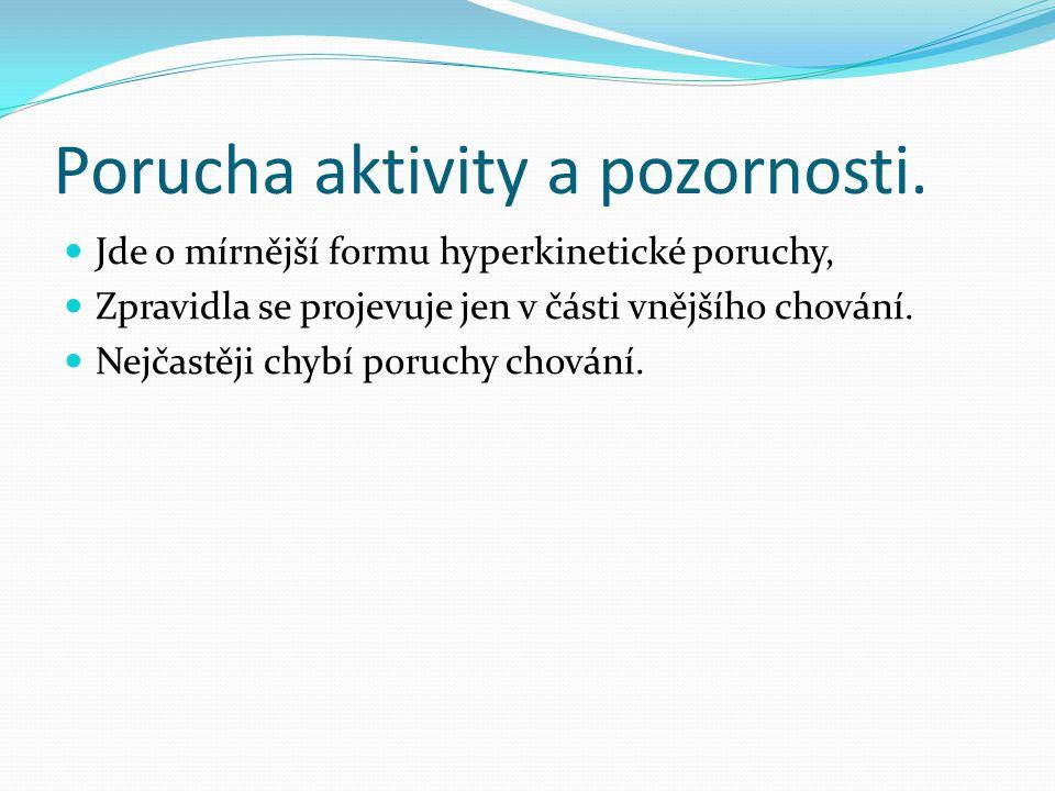 Porucha aktivity a pozornosti.