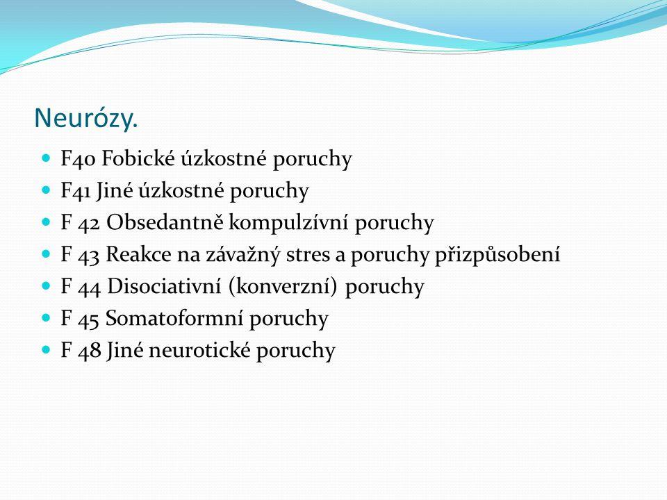 Neurózy. F40 Fobické úzkostné poruchy F41 Jiné úzkostné poruchy