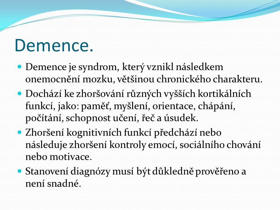 Demence. Demence je syndrom, který vznikl následkem onemocnění mozku, většinou chronického charakteru.