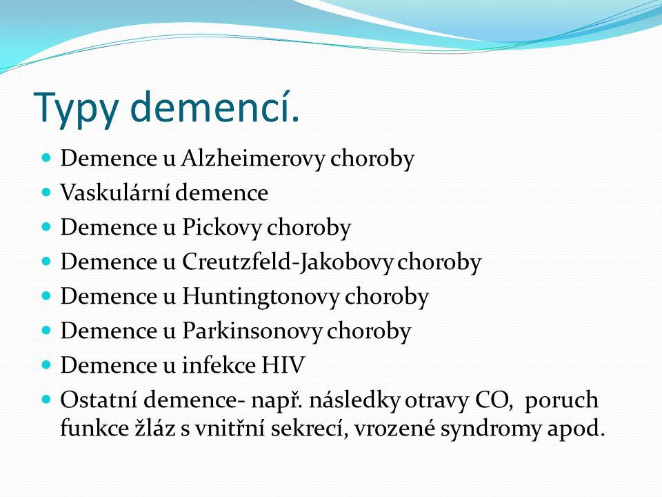 Typy demencí. Demence u Alzheimerovy choroby Vaskulární demence
